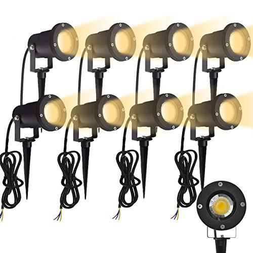 Aufun GU10 Gartenstrahler 3W LED Gartenleuchte mit Erdspieß, Rasen Licht Warmweiß, Wasserdicht IP65 für Außenbereich Garten Teich Landschaft, ohne Schukostecker, 8 Stück
