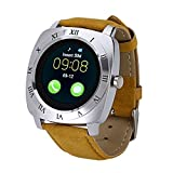 REJUVENATE X3 Bluetooth Smartwatch Phone for Pedometer Fitness Tracker with Camera SIM TF Card Slot Universal for Android Smartphones_Silver