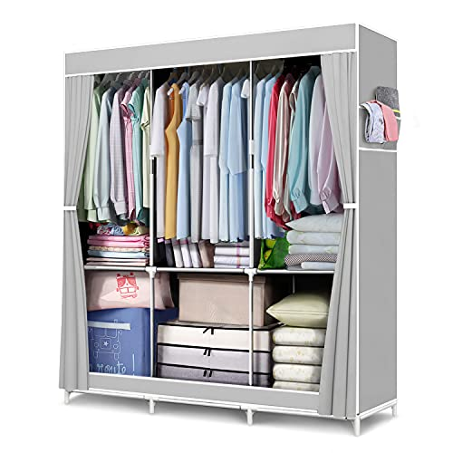 """FUNFLOWERS Portable Wardrobe Storage Closet, Clothes Organizer with Oxford Cloth Fabric, Storage Shelves + Hanging Sections + Side Pockets, Durable & Easy to Assemble, 50"""" L x 18"""" D x 67"""" H, Grey"""