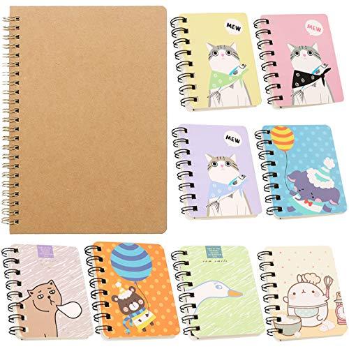 blocco note Fiyuer 10 Pcs quaderno spirale taccuini kraft bianco libro schizzi blocchi appunti per Scuola Viaggio Scrittura Disegno carino