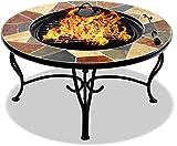 Centurion apoya la Fireology Santiago Prestigious Garden & Patio Fire Pit, Brazier, Mesa de café, Barbacoa y cubeta de Hielo con baldosas de Pizarra