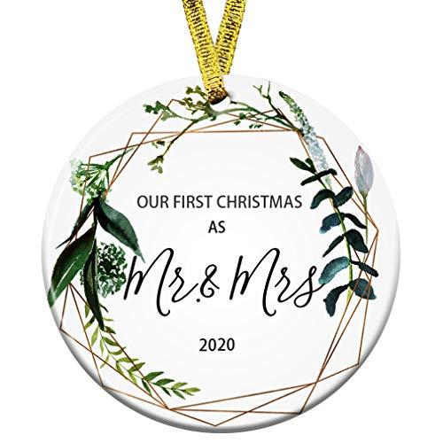 Kooer First Christmas as Mr Mrs Ornament 2020 Wedding Shower Gift 2020 Wedding Ornament (Mr & Mrs)