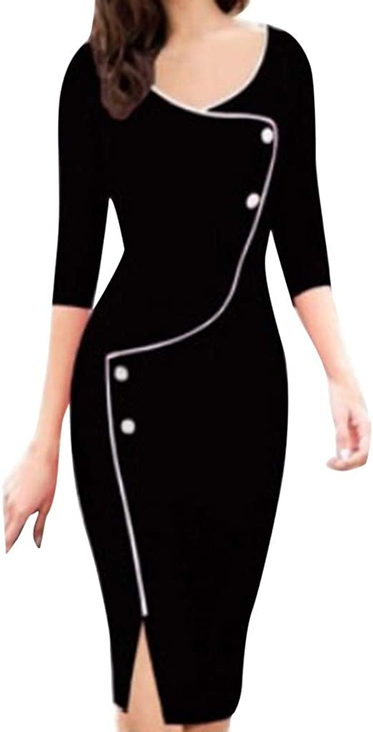 LISTHA V Neck Pencil Dress Women Casual Today's only 4 Sleeve Wo Front 3 New mail order Fork