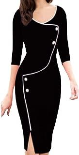✫Women Autumn Pencil Dress,Casual V-Neck Irregular Button Seven-Point Sleeve Front Fork Dress