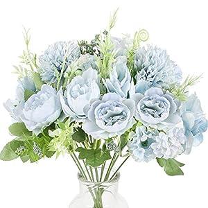HUAESIN Ramo de Flores Artificiales Azules Decoracion Jarrones Geranios Artificiales Exterior Interior Flor de Tela para…