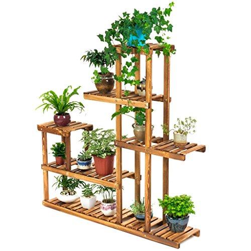 Helen Multi-étages Indoor Green Flower Flower Pots Flower Racks Salon en bois Salon de fleurs Salon (couleur de cuisson au carbone)
