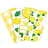 RUODON 4 Pack Yellow Lemons Dish Towels Fast Drying Baking Kitchen Towels Tea Towels for Daily Kitchen Home Cleaning, 22.5 x 16 Inches