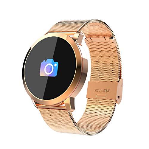 Q8 Smartwatch Fitness Armband | Pulsmesser Tracker IP67 Wasserdicht, Schlaf Monitor Kalorienzähler GPS, Bluetooth Kamera, Sport Fitness Tracker für Damen Herren mit iOS Android (Milanese❤️ Gold)