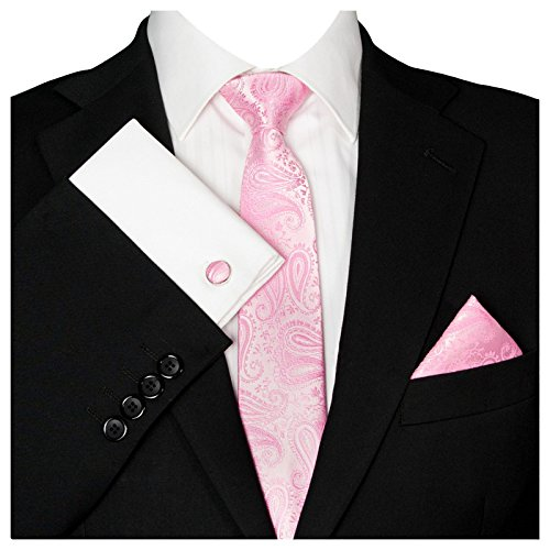 GASSANI Herrenkrawatte Schmal Paisley-Muster, Rosane Hochzeitskrawatte Gemustert, Einstecktuch Manschettenknöpfe Z. Hochzeits-Anzug Sakko Weste