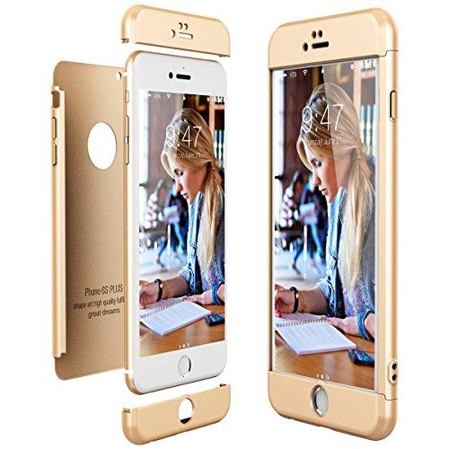 CE-Link Cover per Apple iPhone 6 Plus 6S Plus 360 Gradi Full Body Protezione, Custodia iPhone 6 Plus Silicone Rigida 3 in 1 iPhone 6S Plus - Oro