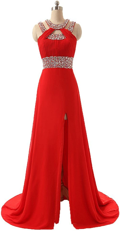 Dormencir Round Neck Beading Sequins Long Formal Evening Prom Dresses