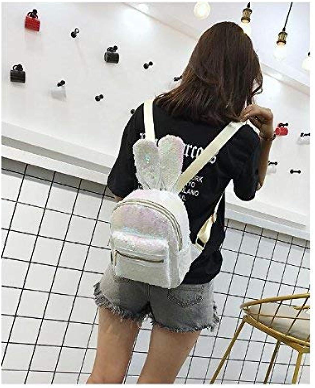 SEBAS HOME Personality Backpacks Sequin Bag Rabbit Ear Shape Backpack Cute Cartoon Schoolbag