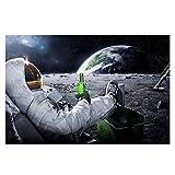 CADANIA Astronaut auf dem Mond Entspannen mit Bier Vintage