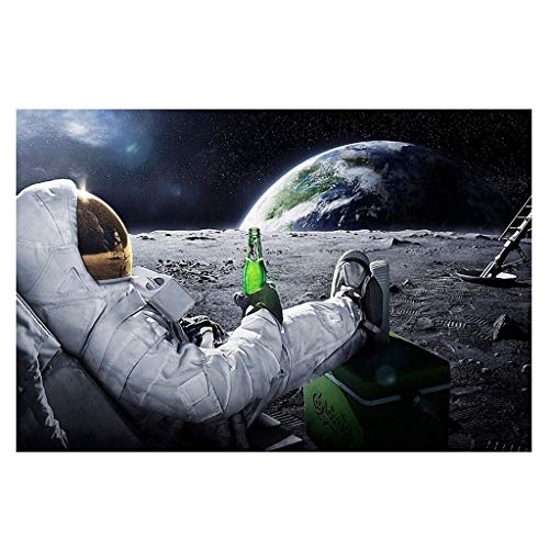 CADANIA Astronaut auf dem Mond Entspannen mit Bier Vintage Fantasy Kraftpapier Poster Home Office Decor Wandaufkleber Paster 6#