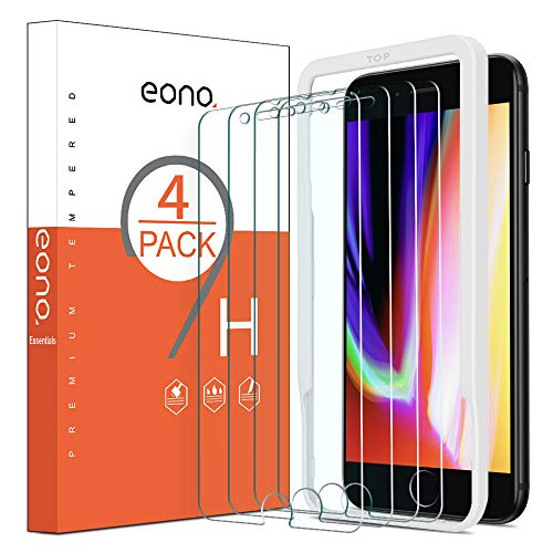 Amazon Brand - Eono Essentials [4 Pezzi] Pellicola Protettiva Compatibile con iPhone 8 Plus/iPhone 7 Plus in Vetro Temperato Anti-Graffi Anti-Impronte Durezza 9H Trasparenza 99,99% Senza Bolle