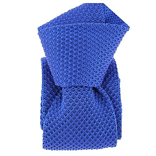 Clj Charles Le Jeune. Cravate tricot. Dandy Farmer, Microfibre. Bleu, Uni.