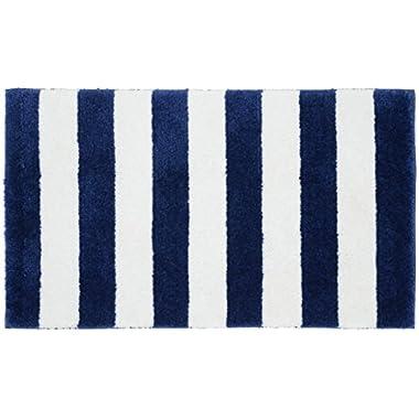 Garland Rug Beach Stripe Bath Rug, 21  x 34 , Indigo Blue/White