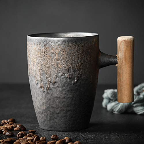 Xiaobing Taza de café Dorada Latte Retro Taza de gres Arte Taza de Agua Taza de Agua de cerámica - Estilo 5-401-500ml