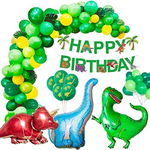 Alintor Kindergeburtstag Deko, Dinosaurier Geburtstagsdeko Jungen Set, Happy Birthday Banner, Jura-Stil Dino Party Luftballons, Perfekt für Kinder 1-10 Geburtstagsfeier