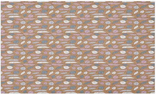 Felpudo de otoño, hojas continuas de estilo de dibujos animados con detalles de mini blot, tapete decorativo de poliéster con respaldo antideslizante, malva pálido gris pardo cálido, 40 * 60 cm