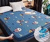 XLMHZP Ropa de Cama de Dibujos Animados Acolchada Cubierta de colchón Impermeable sábana Gruesa de Calor Lavable sábana Grande Cama Doble Individual-Q_200x220cm + 25cm
