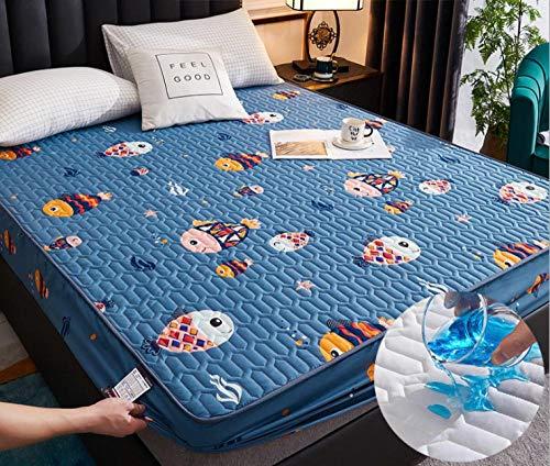 Transpirable - Funda para colchon,Ropa de cama de dibujos animados acolchada cubierta de colchón impermeable sábana gruesa de calor lavable sábana grande cama doble individual-W_180x200cm + 25cm