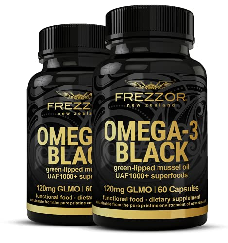 FREZZOR Omega-3 Black-450mg UAF1000+ Inflammation Supplement Joint Pain Relief, 2 Pack, 120 Count