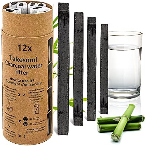 Binchotan Bio 12X | Charbon Actif Takesumi de Bambou pour Purification d'eau | Passez-Vous des Eaux en Bouteille avec Notre Charbon Actif