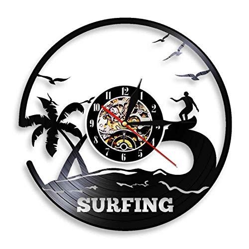 XYLLYT Reloj de Windsurf Silueta decoración de Pared Disco de Vinilo Reloj de Pared Sala de Estar decoración de Interiores decoración del hogar