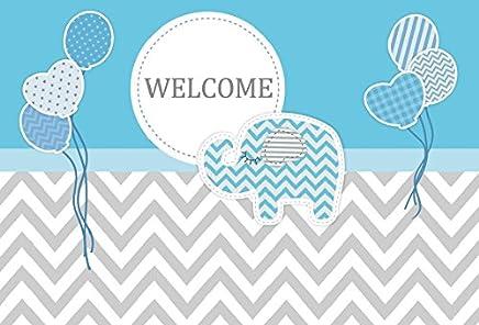 Leowefowa Baby Shower Welcome Party Blue Elephant Backdrop 7x5ft Vinyl Photography Backgroud Plain Blue and Grey