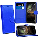 Nokia 6 2018 6.1 Cases - Blue Premium Wallet Leather Flip