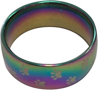 Big Cat Rescue Rainbow Bridge Ring Cat Paw Prints, Mens Womens Colorful Iridescent Stainless Steel 8mm Ring Band Friendship, Couples, (See Sizes)