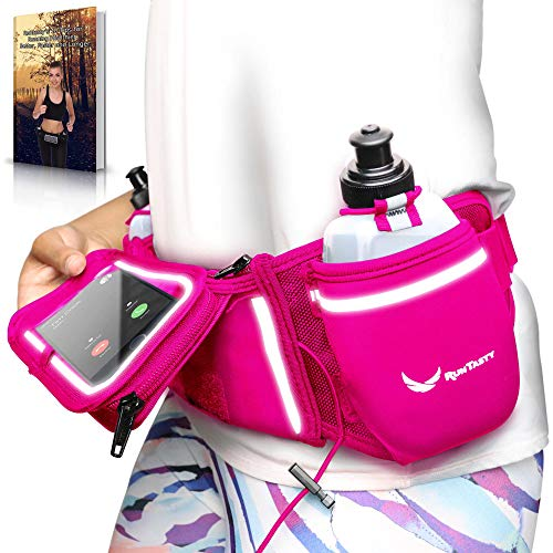 [Voted No.1 Hydration Belt] Pink Winners' Running Fuel Belt - Includes Accessories: 2 BPA Free Water Bottles & Runners Ebook - Fits Any iPhone - w/Touchscreen Cover - No Bounce Fit and More!