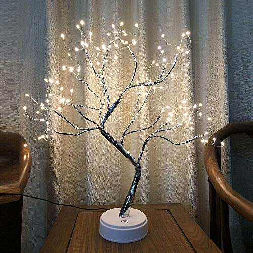 Tree Lamp Lighted Birch Tree 108 LED Twig Tree with Lights up 20 Inches Tree Pre Lit Birch Tree USB & Battery Operated Upgraded Touch Switch Copper Wire Tree Branch Lights for Indoor Decoration