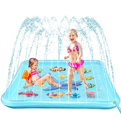 """EpochAir Splash Pad - 67"""" Sprinkler for Kids, Outside Water Toys , Inflatable Kiddie Baby Swimming Wading Pool, Outdoor Toys for Toddlers Kids Boys Girls"""