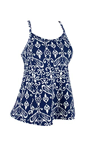 JINXUEER Women's Plus Size Flowy Swimsuit Crossback Tankini Top Modest Swimwear (Navywhite, 28)