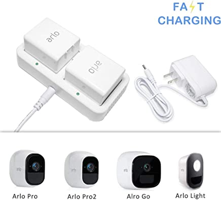 Charging Station for Arlo Rechargable Batteries, Imported Chip Competible with Arlo Pro, Arlo Pro 2, Arlo Go, Arlo Security Light, Fireproof Materal Adapter with 1.2M Long Cable