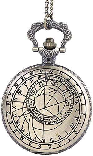Reloj de Bolsillo Vintage Grabado Clásico Carácter Romano Brújula Mapeo Flip Rune Reloj de Bolsillo Vintage Reloj de Bolsillo con Cadena TAMAÑO Libre Uptodate