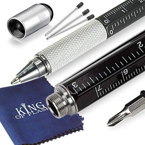 King of Flash, 6-in-1 multifunctioneel gereedschap, outdoor kit met balpen, touchscreen-pen, liniaal, waterpas, sleuf- en kruisschroevendraaier