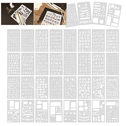 BIYM - Plantilla de plástico con número de Letras Modelo de Dibujo de Graffiti Mylar, para planificador de más de 1000 Modelos Diferentes
