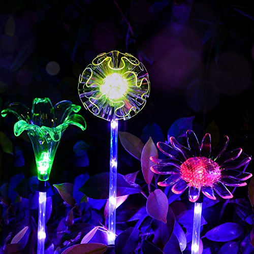 Outdoor Solar Garden Lights - 3 Pack Solar Powered Garden Stake Lights with a Purple LED Light Stake, Multi-color Changing LED Solar Stake Lights for Garden,Patio,Backyard