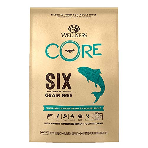 Wellness Natural Pet Food CORE SIX Sustainably-Sourced Salmon with Chickpeas Recipe, 12 Pound Bag