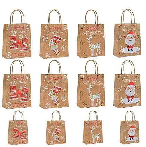 MonQi 12pcs Recyclable Sacs Papier de Noël avec Poignée, Réutilisable Sacs de Cadeau de Papier Kraft de Noël pour Le Shopping, Cadeaux (8 Moyens + 4 Petits)
