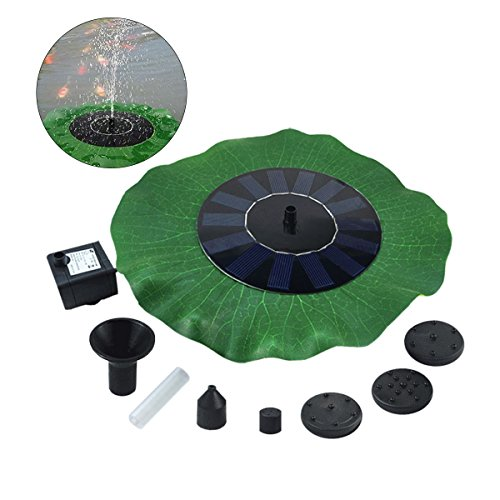 Yardwe Solar Springbrunnen,Solar Teichpumpe Wasserpumpe Solarpumpe mit 7V 1.4W Monokristalline Solar Panel Pool Fontäne Pumpe für Gartenteich,Aquarium,Vogel-Bad(220L/h,Lotusblattförmig)