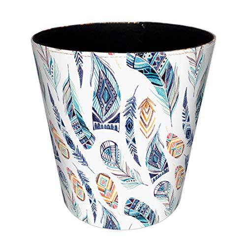 OIURV 10L PU Leder Vintage Mülleimer Papierkörbe Abfalleimer Wasserdicht Müllcontainer für Büro Badezimmer Schlafzimmer küche,26x20x26CM - (Feder 4)