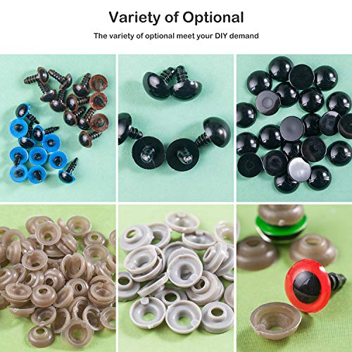 566pcs Safety Eyes Colorful Plastic Safety Eyes with Washers for Doll & Black Plastic Flat Bottom Doll Eyes, Assorted Sizes Craft Eyes for Doll, Puppet, Plush Animal and Teddy Bear