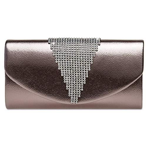 Caspar TA510 Damen Metallic Clutch Tasche mit ausgefallenem Strass Dekor, Farbe:taupe, Größe:Einheitsgröße