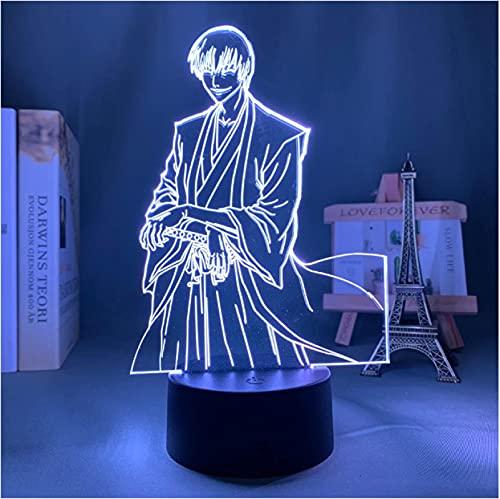 Lámpara De Ilusión Óptica Acrílica 3D Anime Bleach Gin Ichimaru Luz De Noche Para Niños 7 Colores Luz De Noche Para El Hogar Dormitorio Lámpara De Escritorio Decoración