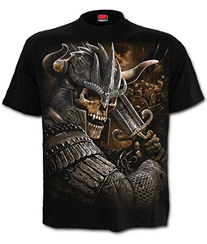 Spiral Direct Hombre GUERRERA Vikingo Camiseta Negra - Negro, X-Large