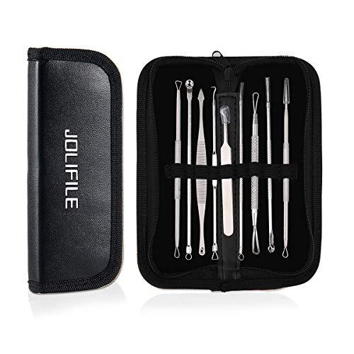 JOLIFILE 9 Stücke Mitesser Entferner Extractor Pinzette Werkzeug, Akne Pickel Extractor Mitesser Removal Tools Kit Behandlung für Makel Risikofreie Nase Gesicht Haut …